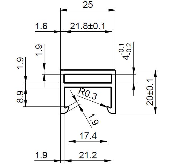PF-3-C Rám VZT 25x20mm